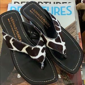 Donald J Pliner wedge sandal with real fur